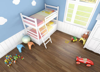 children´s bedroom seen from above