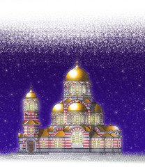 Winter with church
