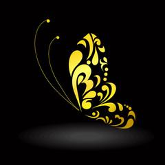 золотая бабочка. векторное изображение