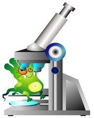 Germ and microscope