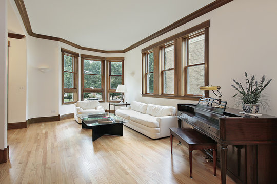 Living room with wood trimmed windows
