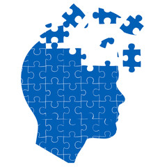 man's mind with jigsaw puzzle