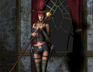 Bewaffnete Frau nit Zauberstab