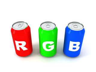 Three colored aluminum cans with letters RGB 3D render