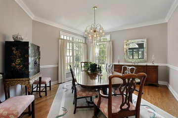 Dining room with gray carpet