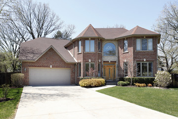 Brick home with stone entryway