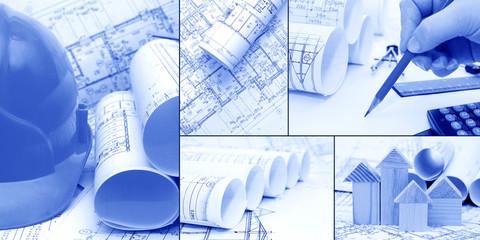 blueprints, construction - concept of construction