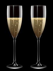 Champagne filled flute glasses