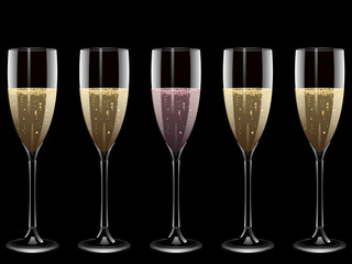 Champagne and pink champagne glasses