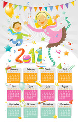new year calendar 2011 with happy kids
