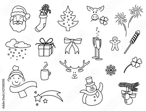 weihnachtsmotive doodle set stockfotos und lizenzfreie. Black Bedroom Furniture Sets. Home Design Ideas