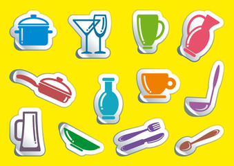 Symbols of kitchen ware on stickers