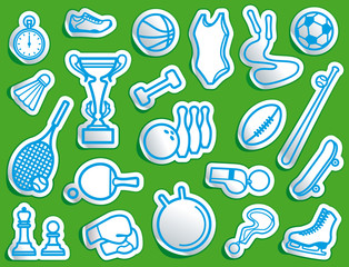 Simple sports icons in the form of stickers