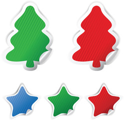 set Christmas vector stickers