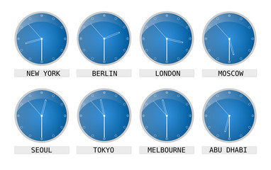 clocks showing time of different places and timezones