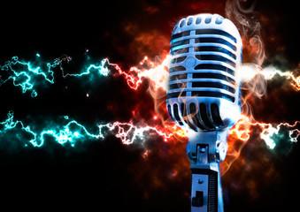ilustracion de musica con microfono retro y explosion con rayos
