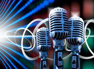 ilustracion de musica con microfono retro y luces de escenario