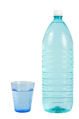 Glass and a plastic bottle filled with water