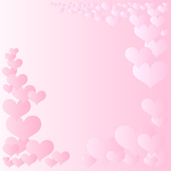 pink hearts frame for wedding and valentine