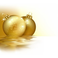 Golden Christmas Balls - background with waves effect