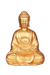 Golden Buddha statue isolated on white