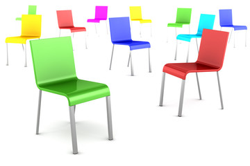 many color chairs isolated on white background
