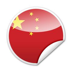 Pegatina bandera China con reborde