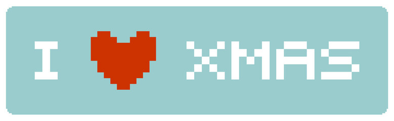Fotobehang Pixel I love Xmas label