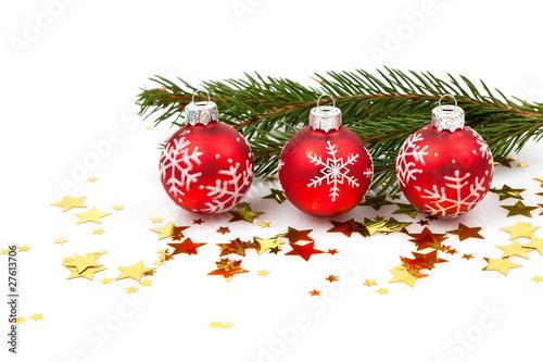 Weihnachtskugel Christbaumschmuck Rot Sterne Tannenzweig Stock