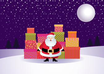 Santa with gifts on the background of a winter landscape