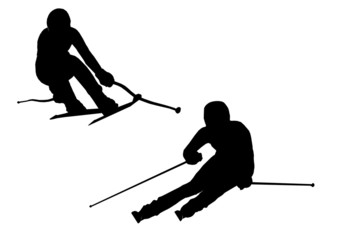 Illustration of alpine skiing