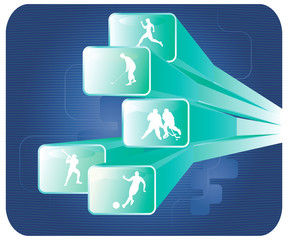 Silhouettes of sportsmen on screens. Vector illustration.