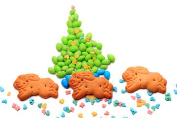 Rabbit and Christmas tree