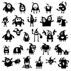 christmas monsters silhouettes
