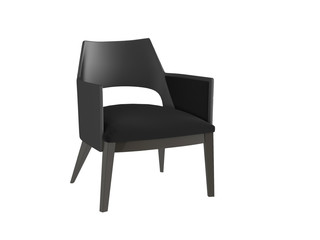 Classic black armchair isolated