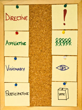 Leadership styles on a wooden boad