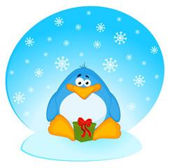 Vector cartoon little penguin with gift