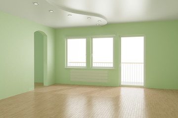 Empty room, clipping path for windows included, 3d illustration