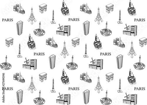 Paris touristique motif papier peint fichier vectoriel libre de - Papier peint motif paris ...