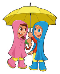 Boy and girl under the umbrella. Vector isolated characters