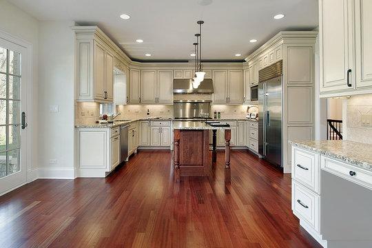Kitchen with cherry wood floor