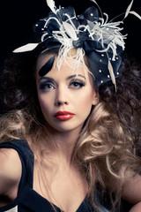 Beautiful fashion model, classic retro style look