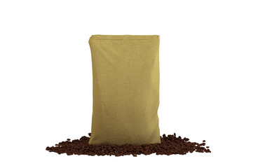 Sacking Pack on coffee beans isolated
