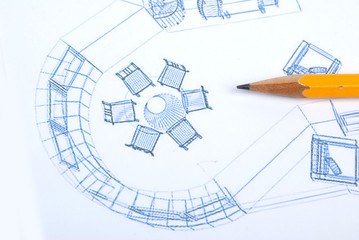 yellow pencil and blueprint