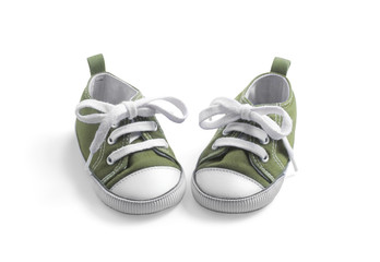 olive baby sneakers on white