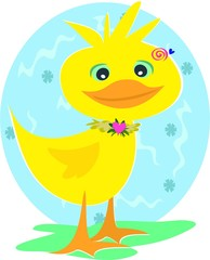 Duck with Spiral Background