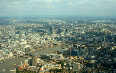 Aerial view of London City district