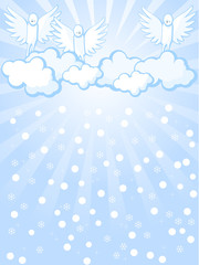 Printed roller blinds Heaven angels and snowfall