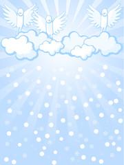 Keuken foto achterwand Hemel angels and snowfall