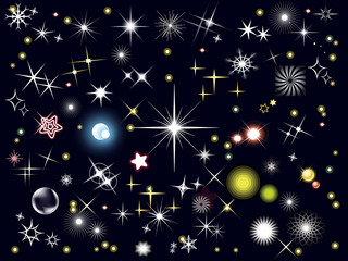 assortimento di stelle e lucine su sfondo nero